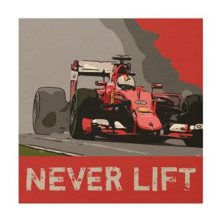 RED RACE CAR - NEVER LIFT WOOD WALL ART