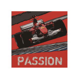 RED RACE CAR - PASSION WOOD WALL ART