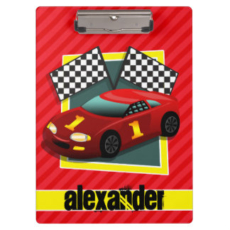 Red Race Car; Scarlet Red Stripes Clipboard