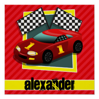 Red Race Car; Scarlet Red Stripes Poster