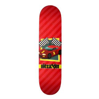 Red Race Car; Scarlet Red Stripes Skate Board Decks