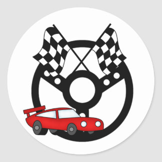Red Race Car Tshirts and Gifts Round Stickers