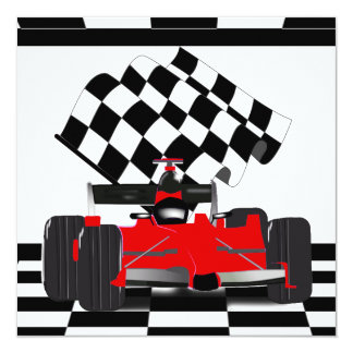Red Race Car with Checkered Flag 13 Cm X 13 Cm Square Invitation Card