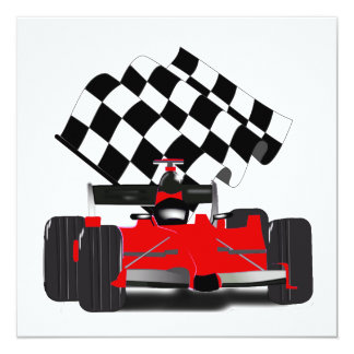 Red Race Car with Checkered Flag Card