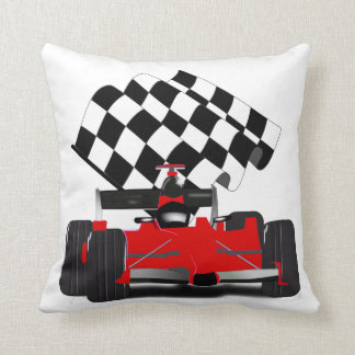 Red Race Car with Checkered Flag Cushion