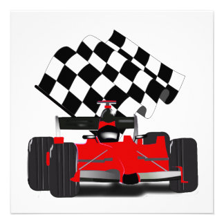 Red Race Car with Checkered Flag Announcement