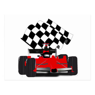Red Race Car with Checkered Flag Post Card