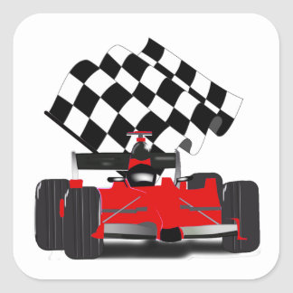 Red Race Car with Checkered Flag Square Sticker