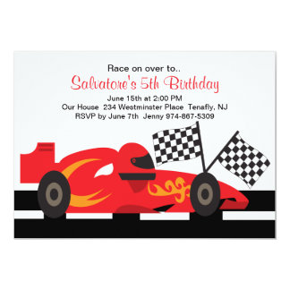 "Red Race Car with Flames Boys Birthday Invitation 5"" X 7"" Invitation Card"