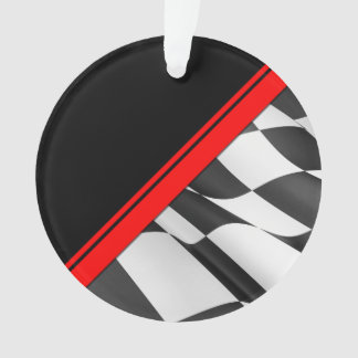 Red Race Stripe Checkered Flag Ornament
