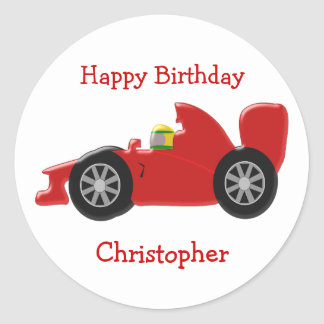 Red Racing Car Birthday Round Sticker