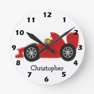 Red Racing Car Just Add Name Round Clock