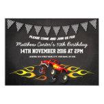 Red Racing Monster Jam Truck Bunting Birthday 13 Cm X 18 Cm Invitation Card