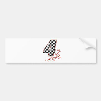 red racing number 4 bumper sticker