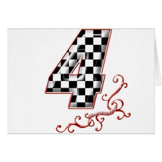 red racing number 4 greeting card