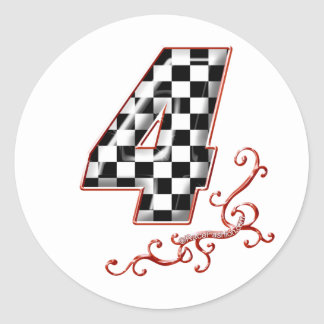 red racing number 4 round sticker