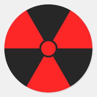 Red Radiation Symbol Round Sticker