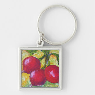 Red Radishes Silver-Colored Square Key Ring