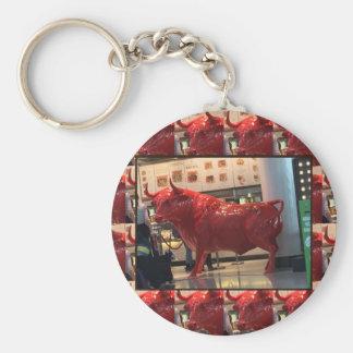 Red Raging Bull Heathrow Airport London England UK Basic Round Button Key Ring