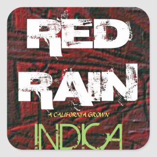 RED RAIN INDICA SQUARE STICKER