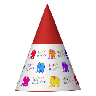 Red Rainbow Color Cartoon Elephants Kid Birthday Party Hat
