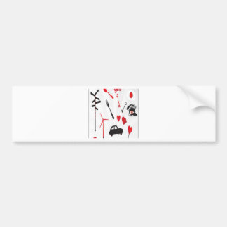 Red random objects design bumper sticker