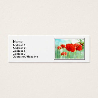 Red Ranunculus Flowers Mini Business Card