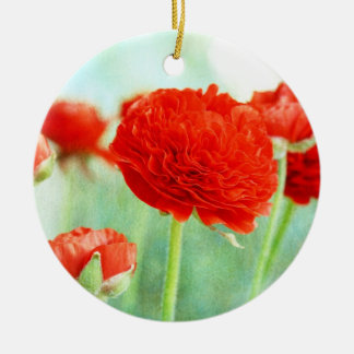 Red Ranunculus Flowers Round Ceramic Decoration