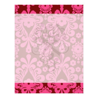 red raspberry and brown mod damask full color flyer