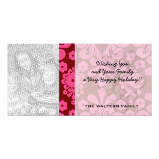 red raspberry and brown mod damask photo cards