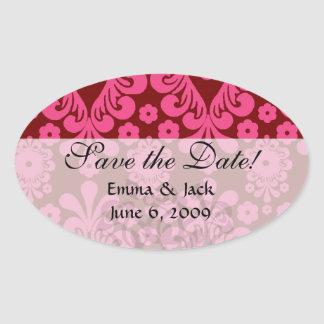 red raspberry and brown mod damask oval sticker