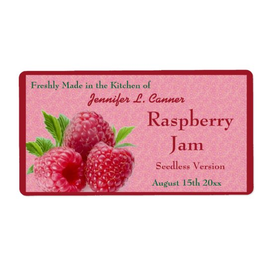 Red Raspberry Jam or Preserves Canning Jar Shipping Label