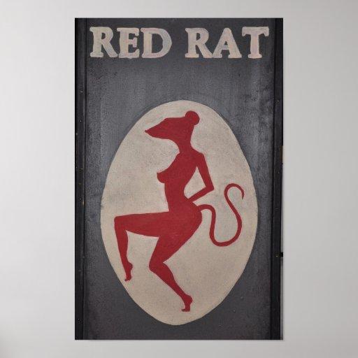 Red Rat Pub Sign Print