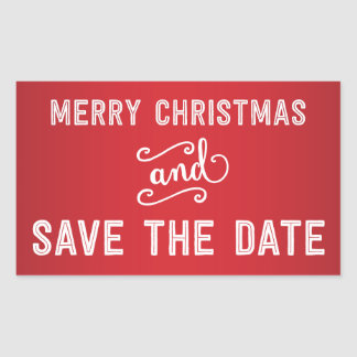 Red Rectangle Save The Date Christmas Stickers