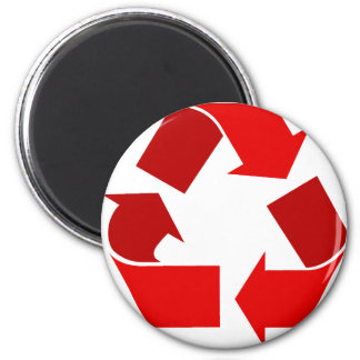 red recycle 6 cm round magnet
