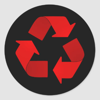 Red Recycling Symbol Round Sticker