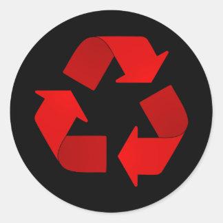 Red Recycling Symbol Round Sticker