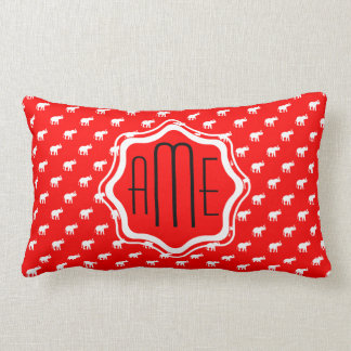 Red Red Elephant Lumbar Cushion