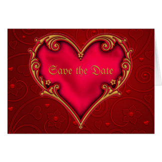 Red Red Heart Save the Date Announcement Greeting Card