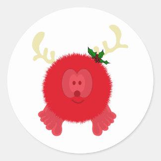 Red Reindeer Pom Pom Pal Stickers