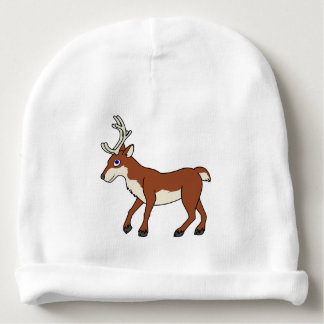 Red Reindeer with Antlers Baby Beanie