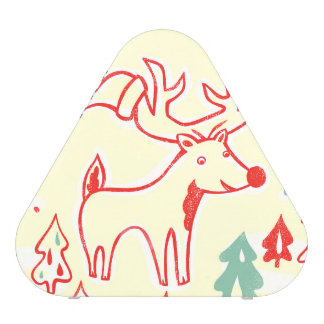 Red Reindeer with Hat in Retro Christmas Forest