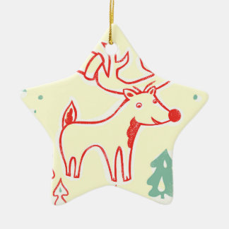Red Reindeer with Hat in Retro Christmas Forest Ceramic Star Decoration