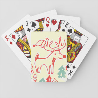 Red Reindeer with Hat in Retro Christmas Forest Playing Cards