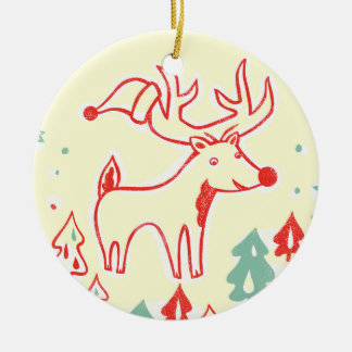 Red Reindeer with Hat in Retro Christmas Forest Round Ceramic Decoration