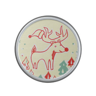 Red Reindeer with Hat in Retro Christmas Forest Speaker