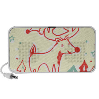 Red Reindeer with Hat in Retro Christmas Forest Mini Speakers