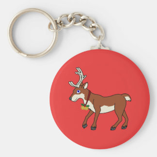 Red Reindeer with Jingle Bells & Christmas Holly Key Ring