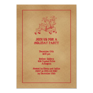 Red reindeers old fashion Christmas holiday party 13 Cm X 18 Cm Invitation Card