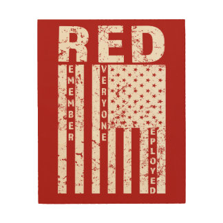 RED Remember Everyone Deployed Flag mens wood art
